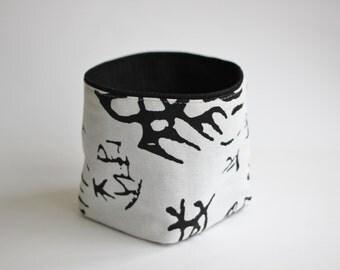 Handmade basket fabric textile cloth cotton bin white black kitchen design bedroom naiv ornament denim perfect smal gift
