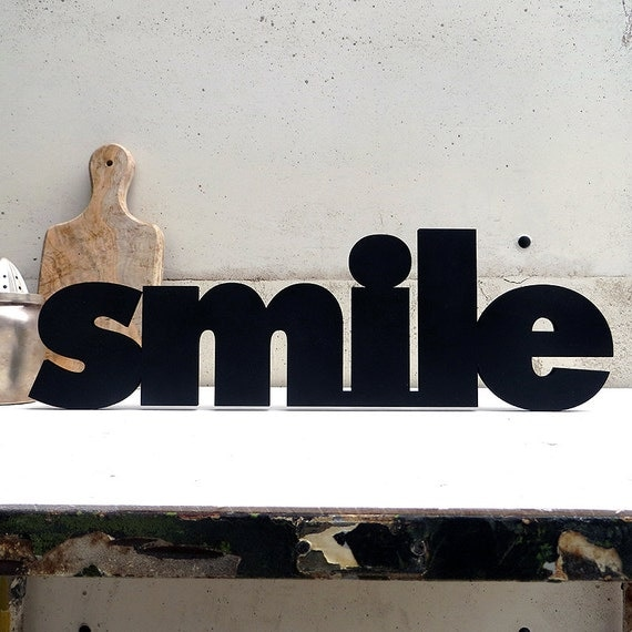 smile 3d schriftzug holz wanddeko. Black Bedroom Furniture Sets. Home Design Ideas