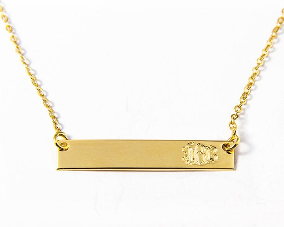 18k gold plated bar necklace engraved by monogramnecklacevip