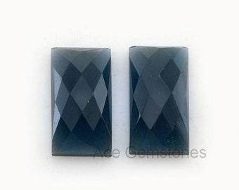 Loose Gemstone Cabochon Kyanite Quartz  Rectangle Pair 11x20 mm