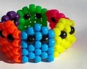 Neon Rainbow Kandi Retro Pacman Ghost Bracelet, Rainbow Kandi, Kandi cuff, Retro kandi, Pacman ghost bracelet, Blacklight Bracelet, Pacman