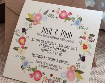 1 x Vintage/Rustic/Shabby Chic 'Julie' floral Wedding Invitation SAMPLE & Envelope