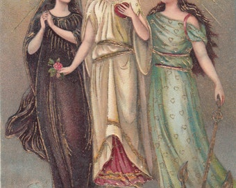 C1910 Gold Embossed 3 Women Faith, Hope And Charity,Unused Antique PostcardLovely Gowns
