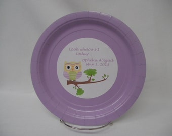 "Personalized/Customized Owl Look Whooo's Turning 1 Birthday Party 9"" or 7"" Paper Plates. Can Do Any Name/Age, etc."