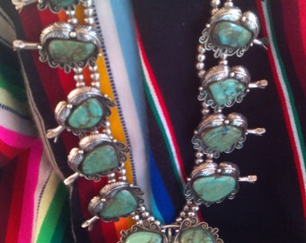 Magnificent Navajo 1940s Sterling Silver and Turquoise Squash Blossom Necklace
