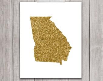75% OFF SALE - Georgia Art - 8x10 Gold Glitter, Georgia State, Art Print, Georgia Printable Art, State Silhouette, Glitter Print, Home Decor