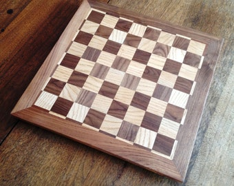 Handmade Wooden Chess Board with Striped Border