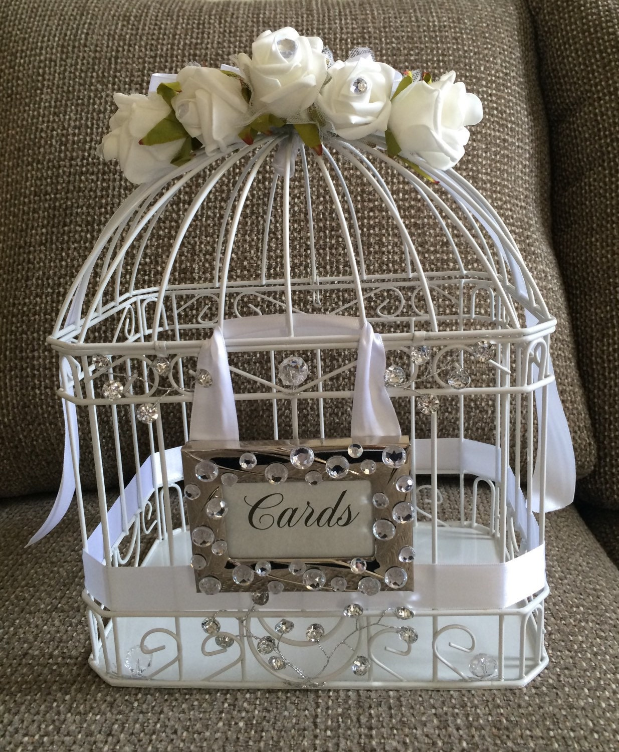 Wedding Gift Card Cage : Bling Wedding Cage Gift Card Holder by CustombytheHeart on Etsy