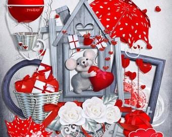 You & Me - Digital Scrapbook Elements - Digital Embellishments - Clipart - F016 - Instant Download