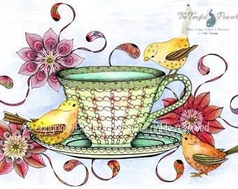 Three little birds and teacup art print. Large wall art. Bird wall decor