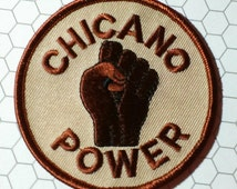 """Vintage 1970's  """"Chicano Power"""" Embroidered Patch"""