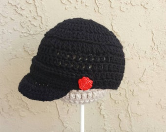 Womens Newsboy Cap, Black and Red Cap, Crochet Gatsby Cap, Crochet Newsboy Cap, Crochet 1920s Cap, Black Newsboy Cap, Red Rose Cap