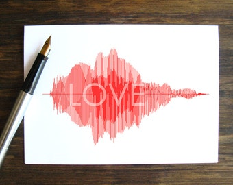 "LOVE - Voice Art / Sound Wave Greeting Card  -  Minimalist & Stylish Soundwave, Perfect to say ""I love you"" on Valentine's Day"