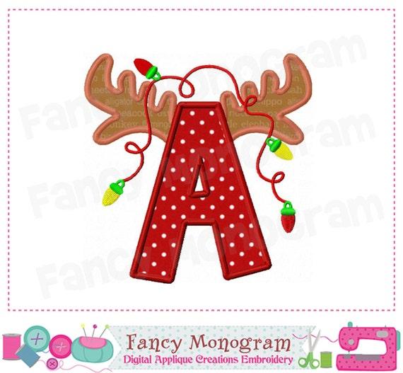 Reindeer Monogram A AppliqueLetter A Applique AChristmas
