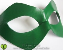 Super Hero Mask, Leather Domino mask, Single Mask, Choose a Color, Hand Painted, Leather Masquerade, Cosplay Mask