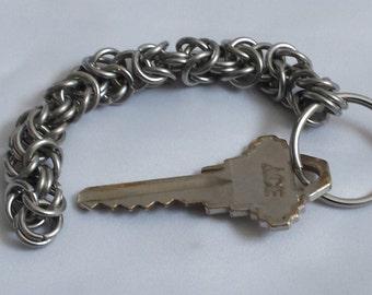 Stainless Steel Byzantine Weave Keychain