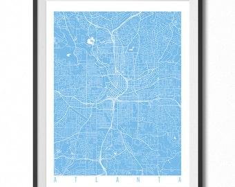 Atlanta Map Art Print / Georgia Poster / Atlanta Wall Art Decor / Choose Size and Color