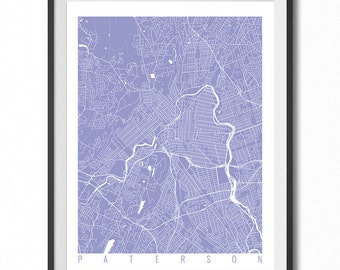 PATERSON Map Art Print / New Jersey Poster / Paterson Wall Art Decor / Choose Size and Color