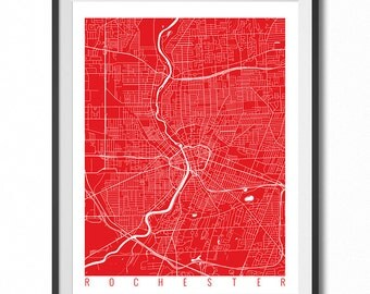 ROCHESTER Map Art Print / New York Poster / Rochester Wall Art Decor / Choose Size and Color