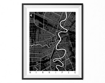 WINNIPEG Map Art Print / Manitoba Poster / Winnipeg Wall Art Decor / Choose Size and Color