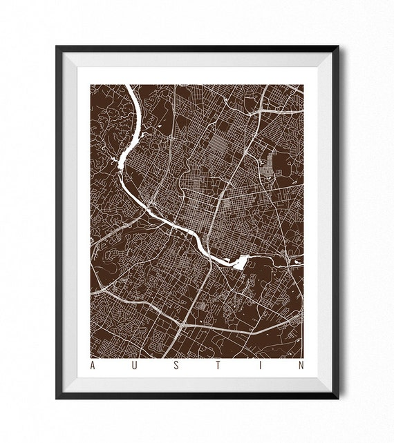 AUSTIN Map Art Print / Texas Poster / Austin Wall Art Decor