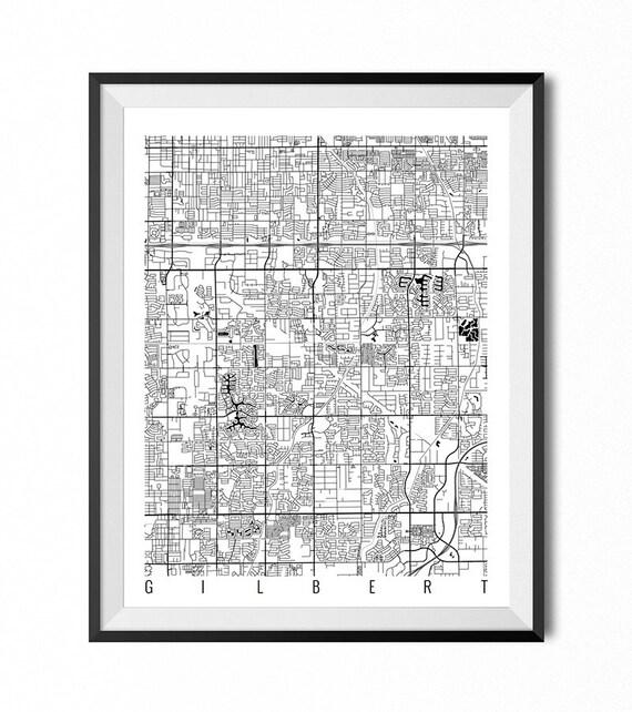 Gilbert Map Art Print Arizona Poster Gilbert Wall Art