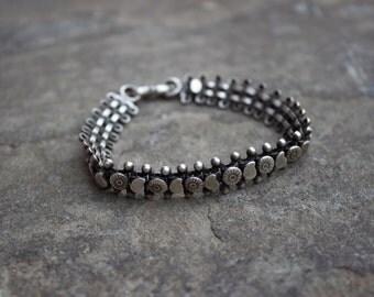 Sterling Silver Tribal Indian Link Bracelet