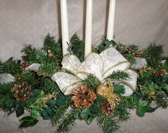 Elegant Gold and White Candle Centerpiece! Candle Arrangement For that Special Table or Event!
