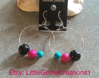 Colourful Glass bead hoops earrings New Hand made fashion jewelry