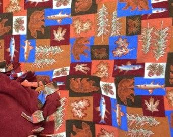 Bears and Fish No Sew Fleece Blanket