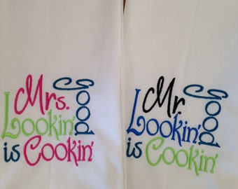 """Beautifully embroidered """"Mr. and Mrs."""" kitchen towels.   These classic tea towels make a wonderful addition to any kitchen."""