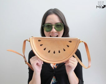 Ready To Ship / Watermelon Cross Body Bag / Watermelon Veg Tan Leather Spring Purse / Hand Stitched Shoulder Bag / Handmade Women's Bag
