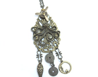 Steampunk Bronze Necklace with Octopus and Propeller