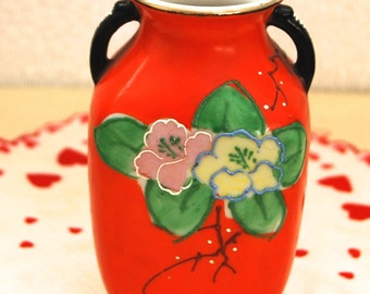 Orange Porcelain Hand Painted Small Vase