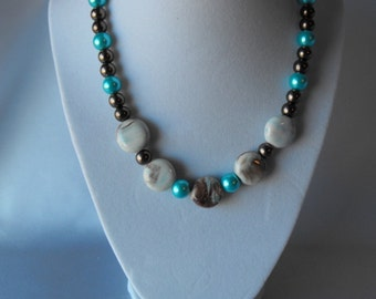 Blue and Brown Pearl Necklace  (BD-785)
