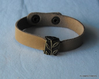 Leather Bracelet -Wide Leather Bracelet  - Leather Jewelry (BD-704)