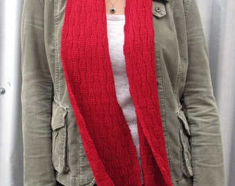 Red knitted wool scarf, Australian merino scarf