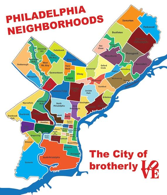 Philadelphia Block Map Typography Canvas Art Print 20x25