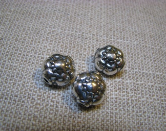 Solid Sterling Silver Flower Bead ~            12mm X 11.5mm ~ set of 2