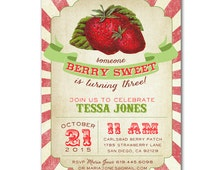 Berry Sweet Vintage Strawberry Invitation - invite customized and personalized - digital file - MATCHING PARTY PACK available!