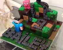 Minecraft cake topper edible made from gum paste