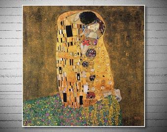Kiss by Gustav Klimt -  Poster Print, Sticker or Canvas Print