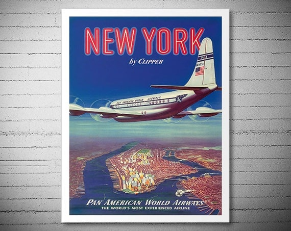 New York USA by Clipper Pan AM - Airline Travel Poster - Poster Paper, Sticker or Canvas Print