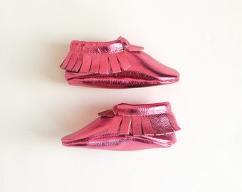 Baby Moccasins, Hot Pink Toddler Soft Soled Shoes