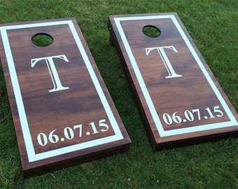 Custom Monogram Wedding Cornhole Boards - Wood Stain Custom Wedding Date