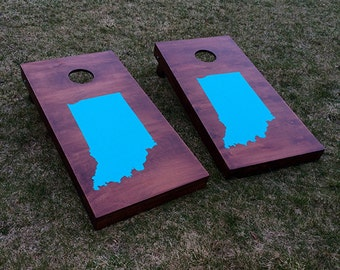 Wood Stained Custom Corn Hole Boards - State Silhouette
