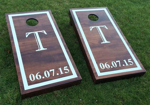 Monogram Wedding Cornhole Boards Wood Stain Custom Wedding Date