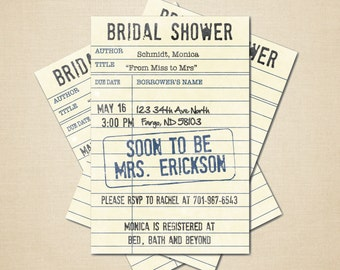 Printable bridal shower invitation - 4x6 DIY Library Card DIGITAL FILE