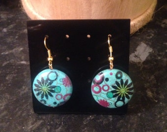 Turquoise patterned earrings