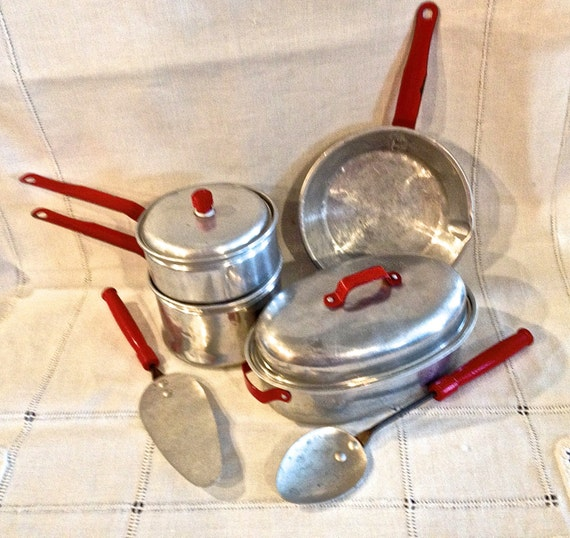 Vintage Toy Kitchen Set: Vintage Toy Kitchen Set Pots And Pans Wood By